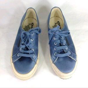 Superga x Man Repeller Blue Satin Sneakers